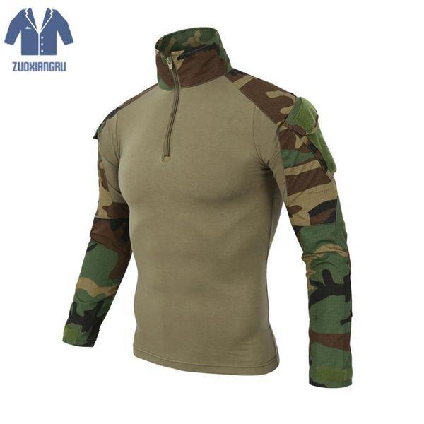 Hombre Cam Camuflaje Multicolor Camisetas Camo Camo Combate Táctica Camiseta Para Hombres Hombres Camiseta de Manga Larga Caza Camisetas