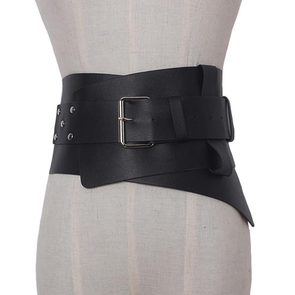 Nuove donne Cintura ultra larga Accessori in ecopelle Corsetto elastico in pelle Cintura frontale Fibbia in metallo Vita Ragazza Vestire la decorazione