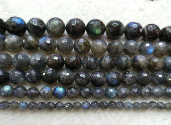 Perline sfaccettate di Labradorite naturale di Whoelsale, perline sfaccettate, 4mm 6mm 8mm 10mm 12mm per monili che fanno 15.5