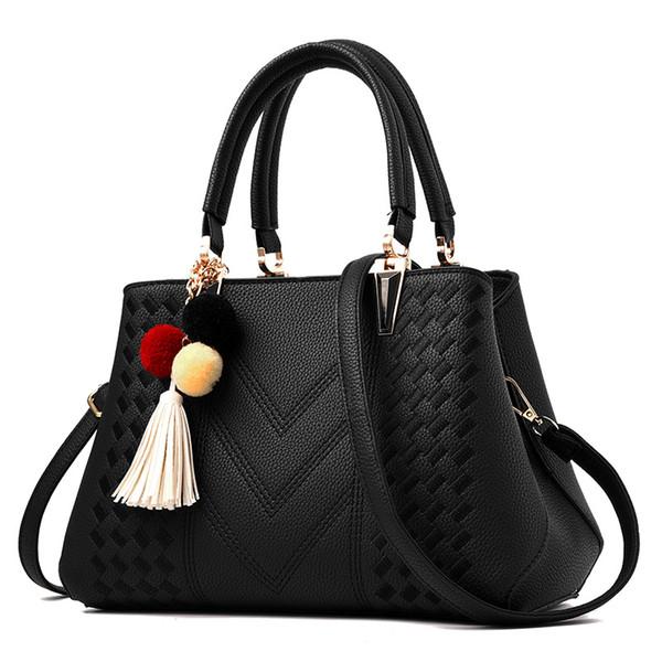 Yeni moda pu deri omuz çantası kadın kaliteli fermuar yumuşak püskül çanta marka rahat iş omuz çantaları