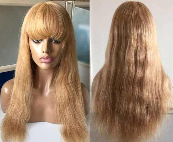 9A Grade Popular Honey Blonde Full Lace Wigs with bang 100 Brazilian Virgin Hair Human Hair Lace Front Wigs with fridge Free Shipping