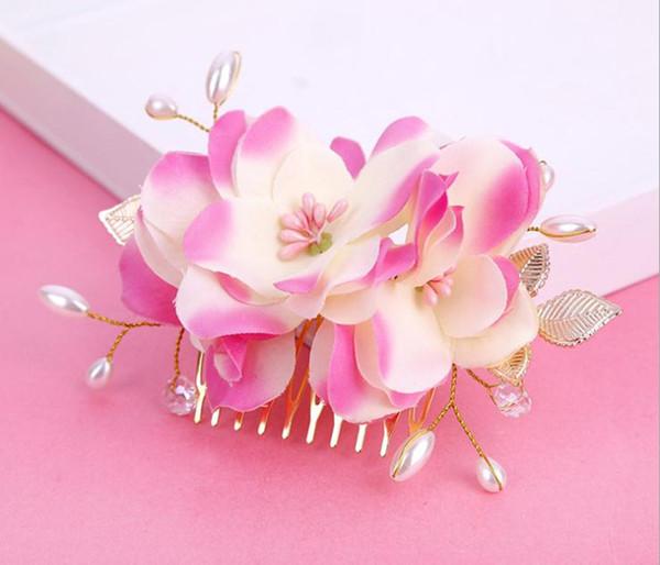Korea Bridal Hair Combs Clips for Bride Pearls Bridal Hairbands Wedding Veil Hair Comb Bridal Headpieces Flower Headdress Hair Accessories