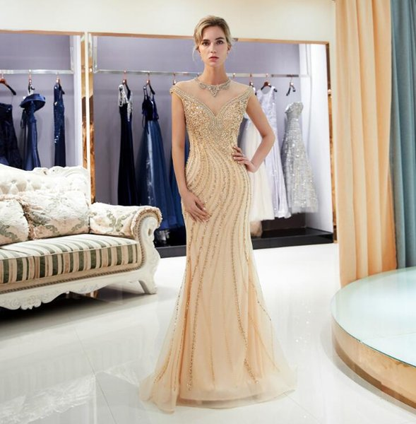 2019 New Gold In Stock Beaded Bridal Prom Evening Dresses Jewel Neck Elegant Bridal Gowns Unique Tulle Crystal Party Dresses HY370
