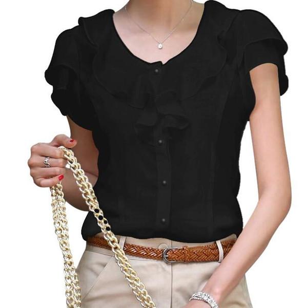 Yaz Bluzlar Kadın Gömlek Şifon Moda Artı Boyutu Düz Renk kadın Üstleri Kısa Kollu Kadın Giyim Blusas
