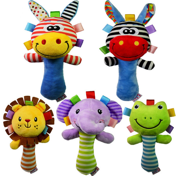 2018 Soft Baby Toy Cartoon Animal Rattle Squeaker BB Sounder Early Educational Doll Elephant Giraffe Lion Frog Plush Hand Rattle Bell