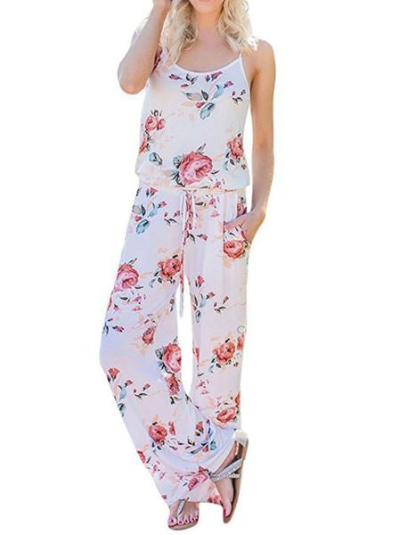 Poliéster Kawaii Floral Mujer Mono Moda Correa de espagueti Monos largos Pantalones casuales Playa Pantalones anchos Monos Verano Mujer