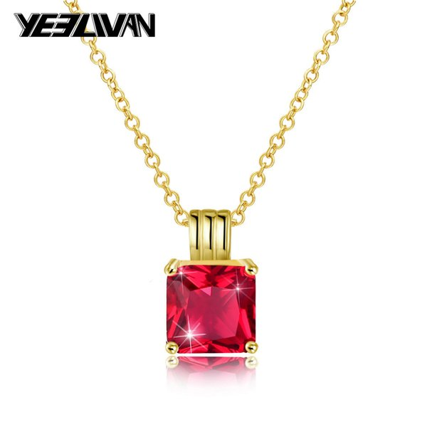 New Hip Hop Pendant Women's Necklaces Fashion Gold Iced Out Rhinestone Mini Square Red Blue Gem Crystal Cuban Choker Necklace