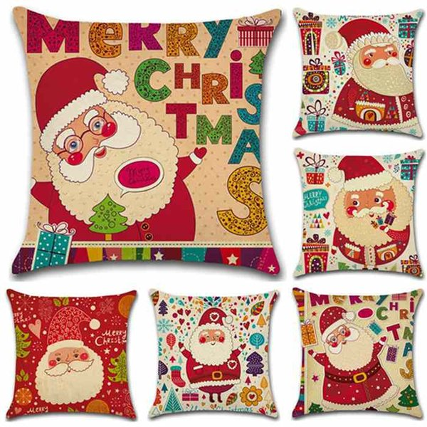Merry Christmas Cartoon Santa Claus Seires Linen Pillowcases Sofa Car Pillow Case Home Bar Cafe Cushion Cover 45*45cm Soft Decoration Gift