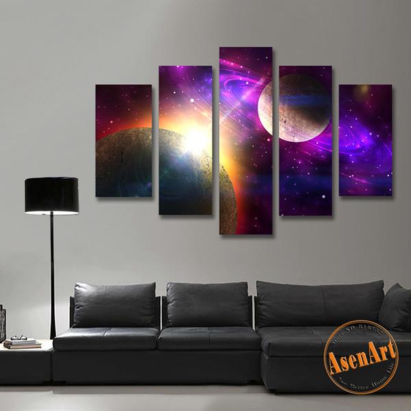 5 piezas de arte de la lona pintura Galaxy Planet universo pintura para sala de estar Home decoración de pared sin marco púrpura pinturas de pared conjunto
