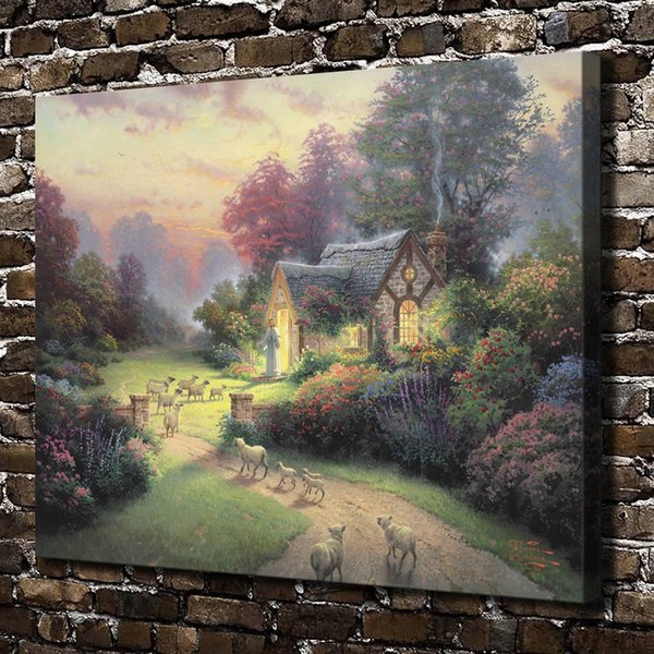 (Thomas Kinkade) The Good Shepherd Cottage,Home Decor HD Printed Modern Art Painting on Canvas (Unframed/Framed)