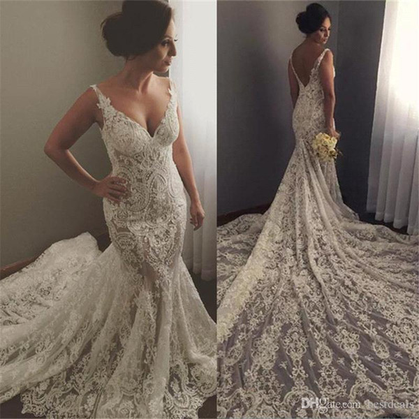 Sexy Spaghetti Straps Vestidos De Noiva Mermaid Wedding Dresses Deep V Neck Low Back Luxury Chapel Train Full Lace Wedding Bridal Gowns