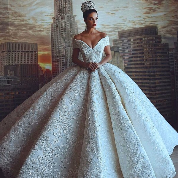 Dubai Embroidery Crystal Wedding Dresses Beads Applique Off Shoulder ...