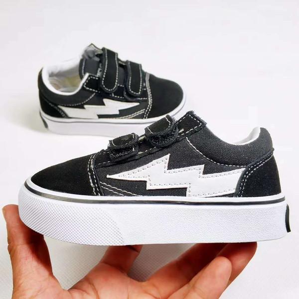 New Hot children shoes infant classic old skool boys girls black white red baby kids canvas skateboard sport sneakers 22-35