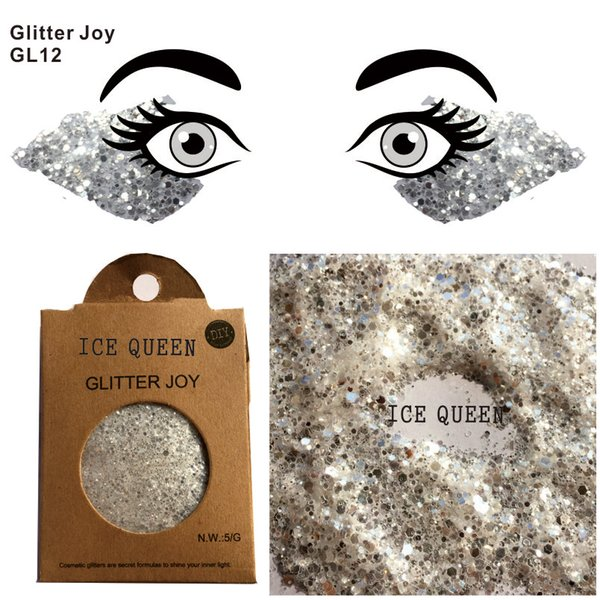 GL12 Ice Queen Cosplay Festival Face& Body Glitter Party Make Up Cosmetic Glitters Body Carnival Decor
