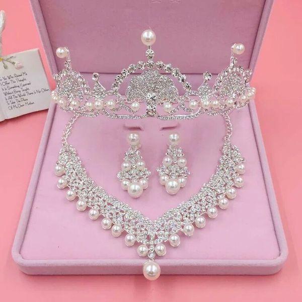 Bridal Wedding Accessory Sets Women Bridal Crown Necklace Wedding Veils Vintage Crystal Wedding Accessories Fashion 3 Pieces Bridal Jewelry
