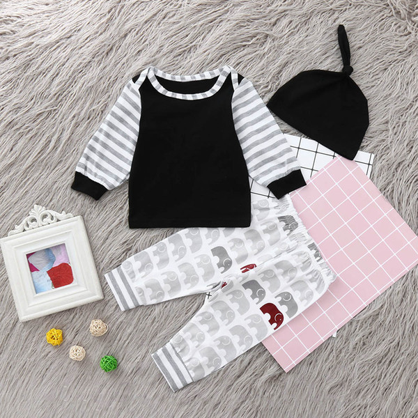 Newborn Infant Baby Boy Striped T shirt Tops Cartoon Pants Clothes Outfits Set classic black&white Fashion Cartoon Stripe set