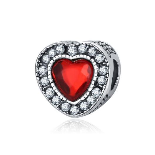 Wholesal Heart Red Gem Crystal Charm For Sterling Silver Bracelet European Charms Bead Fit Pandora Bracelets Snake Chain Fashion DIY Jewelry