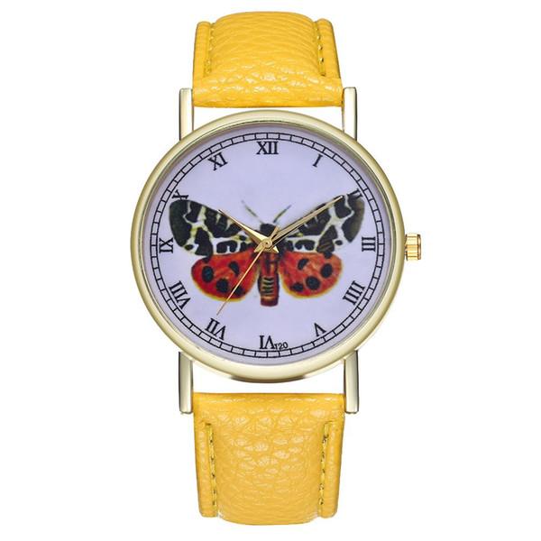 GENBOLI Colorful Butterfly Classic Luxury Fashion Leather Strap Cheap Women Quartz Watch Girls Women 2018 Montre Sport