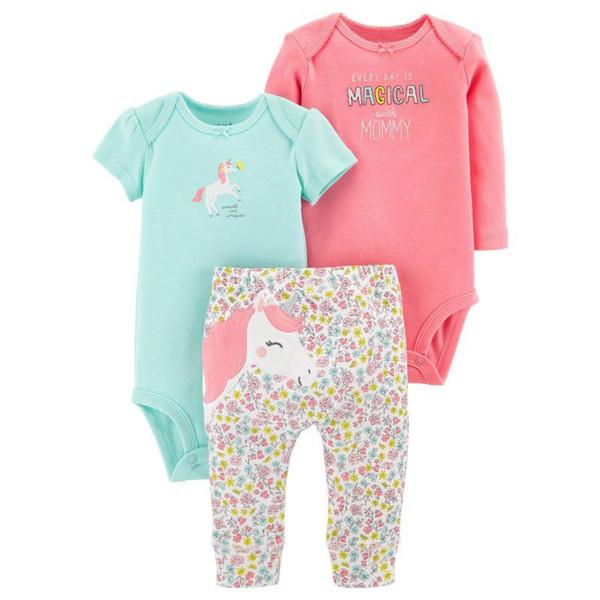 Vestiti della neonata messi 3pcs pantaloni a maniche lunghe tuta tuta modello cavallo carino bambino primavera autunno abbigliamento 100% cotone
