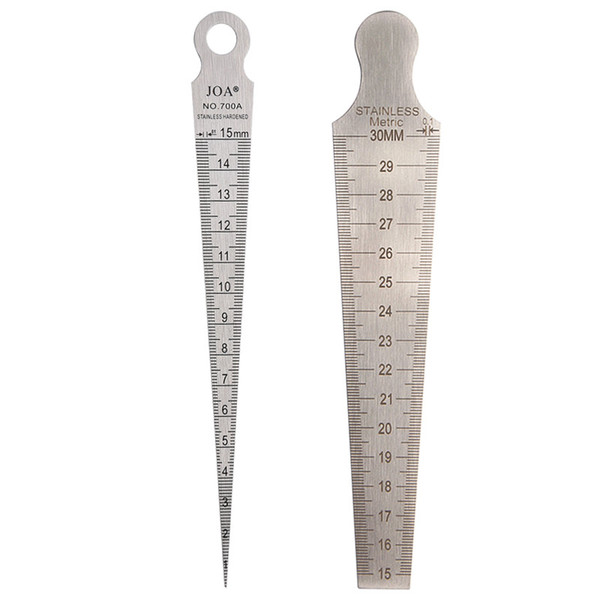top popular Freeshipping 2Pcs lot Taper Gauge Stainless Steel Feeler Gap Hole Metric Welding Wedge Feeler 1-15mm 16-30mm Ruler Measuring Tool 2021