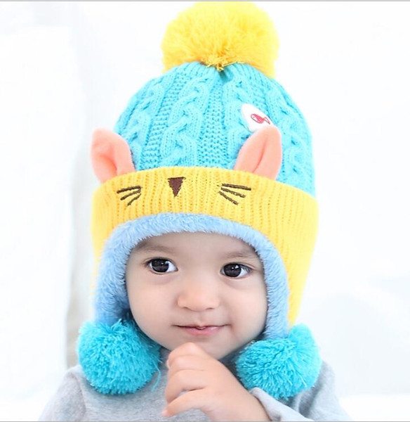Warm cartoon animal cat ear hat knitted plush baby earmuffs beaine kids toddler caps crocheted beanies for boy girl wholesale