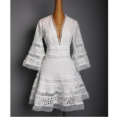 US 2018 frauen sommer mode designer runway v-ausschnitt spitze stickerei casual party mini dress weibliche vestido