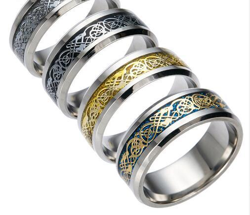 4 Cores Do Vintage Dragão De Ouro Anel de Aço Inoxidável 316L Mens Jóias Para Homens Senhor Wedding Band Anel Masculino Para Os Amantes 10 PCS Jóias acessórios