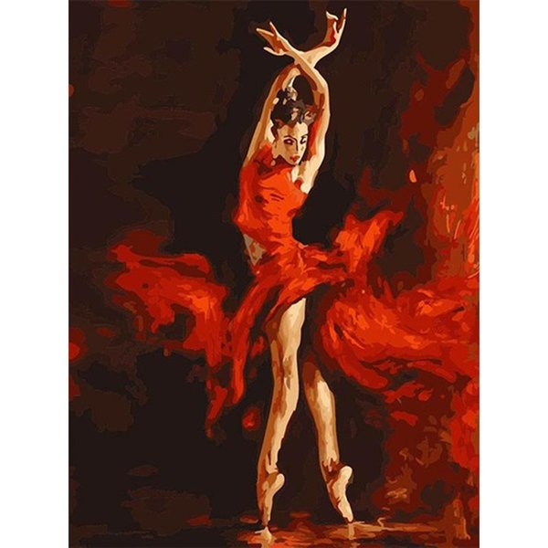 Creative Red Art Flaming Dancer Oil Painting Eco Friendly Hand Painted Wall Decor Frameless DIY Digital Paintings Exquisite Hot Sale 13zc aa