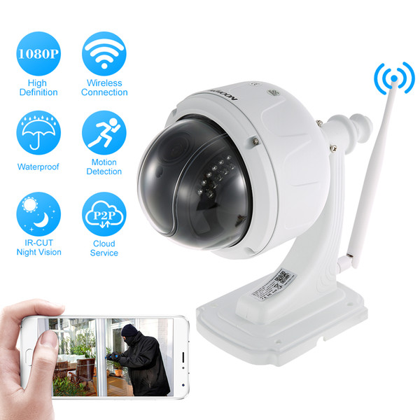 KKmoon 1080P Wireless WiFi IP Camera Outdoor HD PTZ IP Camera 2.7-13.5mm 5X Optical Zoom Auto Focus Waterproof Security