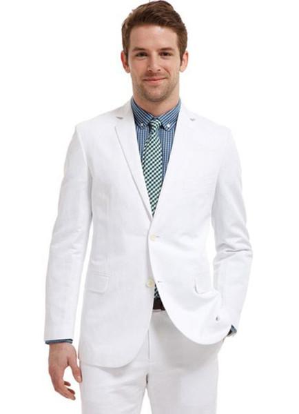 Men Suits 2018 Summer Fashion Beach White Linen Custom Made Wedding Suits Bridegroom Groomsmen Tuxedo Blazer Slim Fit Casual Best Man 2Piece