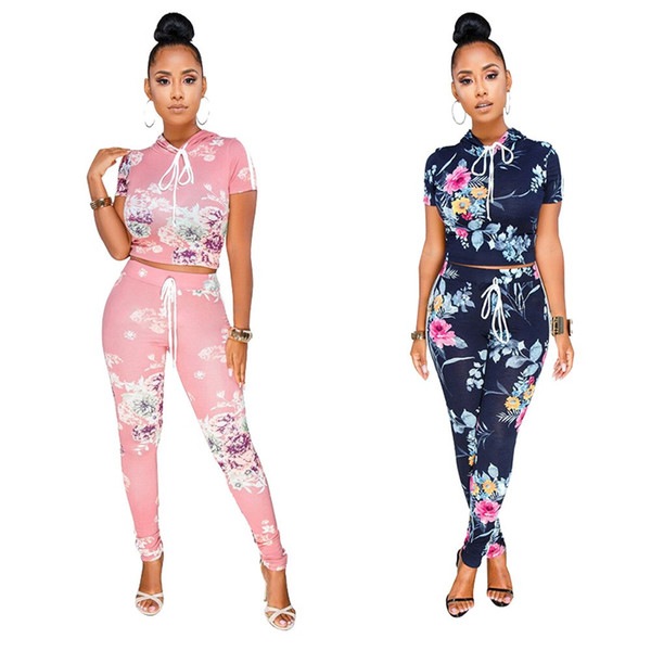 Women Tracksuit Flower Printed Two Piece Set Summer Outfits Sexy Hooded Tops Bodycon Pants Set 2 Piece