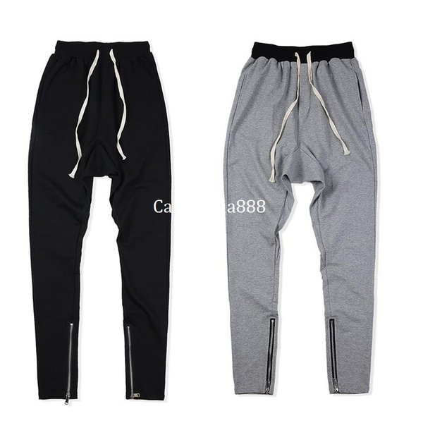 2018 NEW Design justin bieber Bottom side zipper Black gray Men Casual joggers pants hip hop Fashion Casual Jogging Pant S-XL
