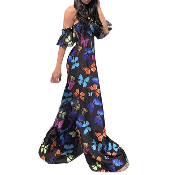 2018 NEW Arrival Women Sexy Playsuit Butterfly Printed Off The Shoulder Clubwear Jumpsuit High Quality Loose Party Jumpsuit