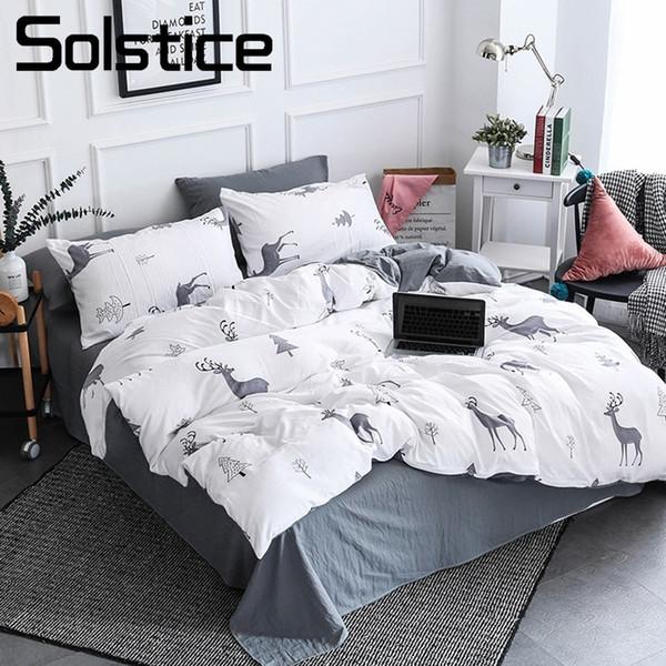 Solstice Home Textile Nordic Reindeer Bedding White Duvet Cover Set Sheet  Pillowcase Girl Kid Teen Boys Bed Linen Christmas Tree Cheap Full Size ...
