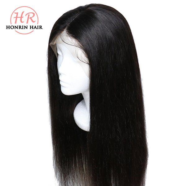 Honrin Hair Lace Front Wig Deep Part Silky Straight Pre Plucked Hairline Malaysian Virgin Hair Full Lace Wig 130% Density Bleached Knots