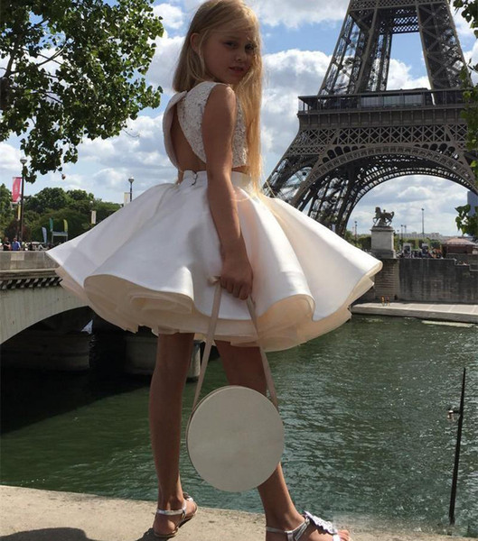 Vestidos modernos del desfile de las muchachas de dos piezas LAce Aplliqie vestido de fiesta cumpleaños del día de fiesta Vestidos para las niñas pequeñas por encargo