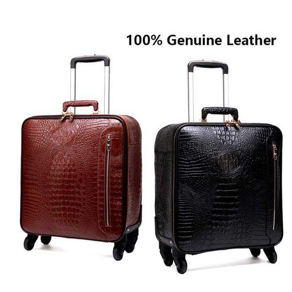 Cuero genuino rodando equipaje hombres multifunción maleta ruedas de 16 pulgadas retro cocodrilo trolley bolsas de viaje bolsa de ordenador portátil