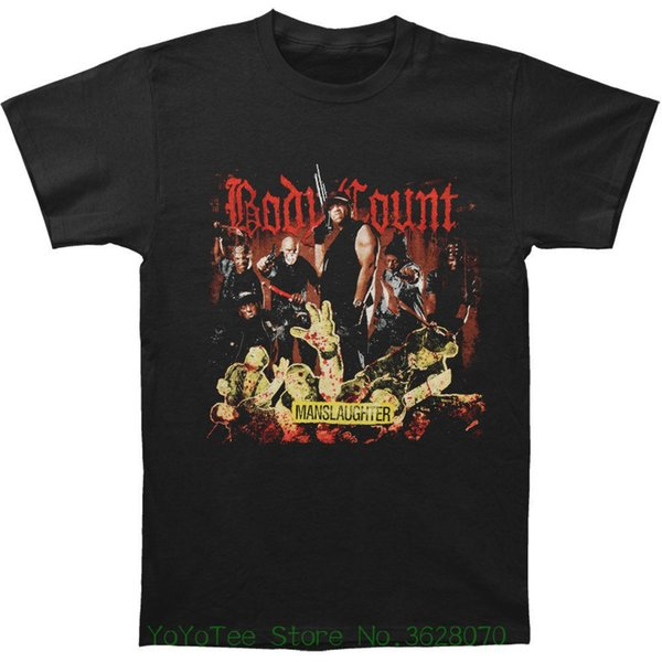100% coton T-shirt pour les hommes Body Count Men '; S Manslaughter T-shirt Noir