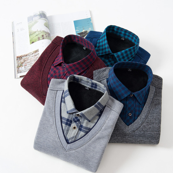 Fake Two Warm Shirts Men Plus Velvet Business Outside Wear Body Pure Color Grey Blue Red Black Shirt