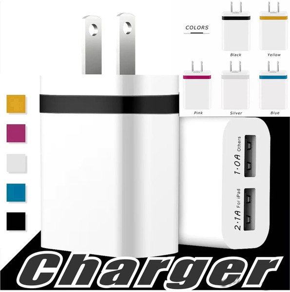best selling High Quality Wall Charger Metal Dual USB For Samsung S8 S7 S9 Plus 2 Ports US EU Version Travel Adapter For Universal Smart Phones OM-P8