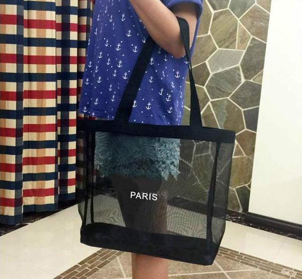 2018 Nuevo logotipo clásico blanco bolsa de malla de compras patrón de lujo Bolsa de viaje Bolsa de lavado para mujer Estuche de malla de almacenamiento de maquillaje cosmético