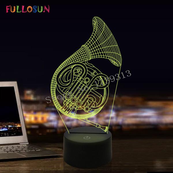 FULLOSUN LED Işık 3D Fransız Boynuz Masa Lambası Oturma Odası olarak 7 Renk Gece Lambası Art Decor Arkadaşlar Hediye