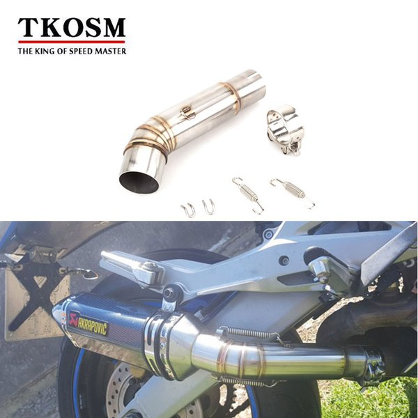 TKOSM Motorcycle Exhaust Middle Link Pipe Accessories Escape Connection Pipe System For Honda CB600F Hornet 2007- 2013 Slip-on