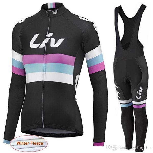 LIV 2017 New Women Winter thermal fleece Cycling Jersey bike clothing long sleeves cycling shirts+ mtb bicycle Bib Pants set D1113