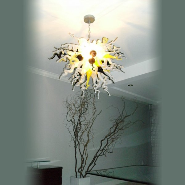 Ceiling Decorative Gray Pendant Led Livingroom And Bedroom Deco 100% Mouth Blown Borosilicate Hand Blown Glass Chandelier Light for Sale