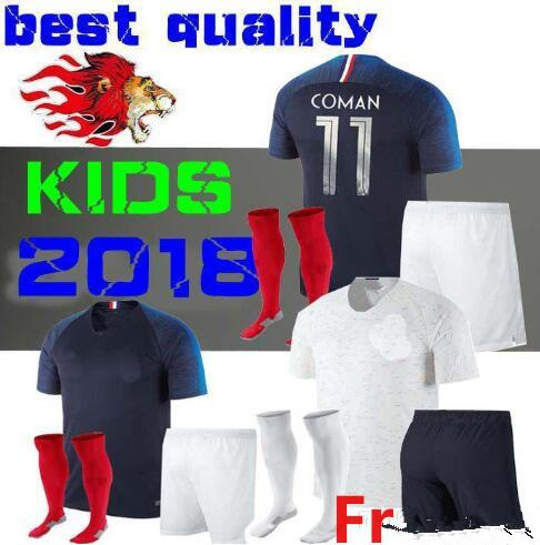 the latest d2510 dd8f1 France Kids Kit Soccer Jersey 2018 World Cup Mbappe Griezmann Kante Fr  National Team Kids Football Shirts Coman Away Whit Socks From  Messisp0rto1's ...