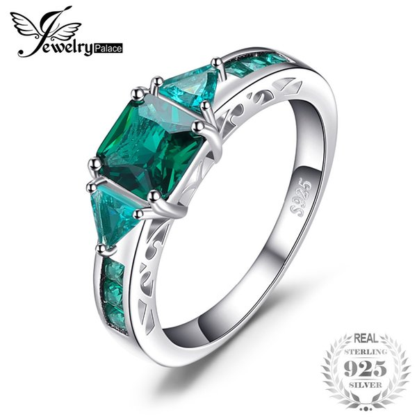 JewelryPalace Caved 1.3ct nano russo simulato anello smeraldo dichiarazione 925 sterling silvern amicizia amore gioielli regali s18101001