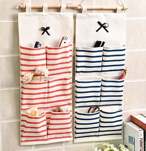 La versión coreana de Bowler del algodón y la puerta del tamaño del cáñamo después de la puerta simple colgando en la pared de la cocina en casa bolsa multifuncional para colgar