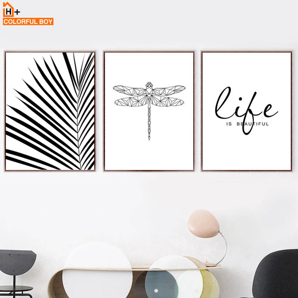 COLORFULBOY Wall Art Canvas Painting Nordic Poster Black White Dragonfly Leaf Minimalist Bedroom Wall Pictures For Living Room