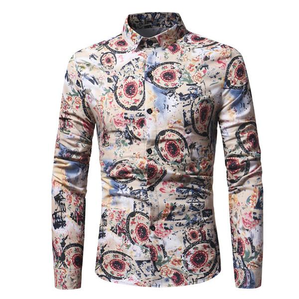 Impresión de flores camisa de los hombres de la vendimia de color caqui Floral impreso blusa Cena de moda Tops de manga larga camisa retro Estilo chino Boy delgado